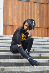Mona Lee - Kiwi And Yam Mesh Shirt, Topshop Jeans, Jordans Shoes - Kiwi and yam