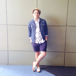 Kenneth Allan Soriano - Forever 21 Denim Jacket, Forever 21 Printed Button Down, Uniqlo Navy Blue Summer Shorts, Vans Cream Gumsole Sneakers - Denim X Print