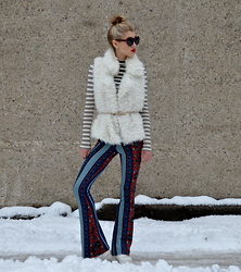 Dani Mikaela McGowan - Bloomingdale's Fur Vest, Topshop Striped Turtleneck, Macy's Bell Bottom - That 70s Snow