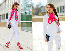 Stephanie Van Klev - Hermès Paris Carré, Deichgraf Tunika Blouse, Frame White Skinny Jeans, Salvatore Ferragamo Bag, Justfab High Heel Sandals - Pink & White
