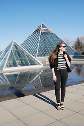 Sandy Joe Karpetz - Vintage Striped T Shirt, Paradise Mine High Waisted Denim, Le Chateau Strappy Sandals, Vintage Suede Cropped Bomber Jacket, Komono Black Octagon Sunglasses - Pyramids