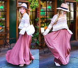 Aika Y - Asos Camel Hat, Free People Cropped Pullover, Anthropologie Flowy Maxi, Topshop Booties, Asos Multi Row Necklace - Spring Neutral