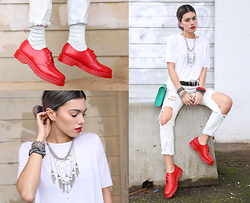 Alanna Durkovich - Cheap Monday Tee, 8 Other Reasons Necklace, Dr. Martens Shoes - RED