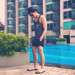 Christian Salonga - Forever 21 Black Straw Hat, Zara Nautical Stripes Tank Top, F&H Faux Leather Shorts - BLCK SMMR PRDSE