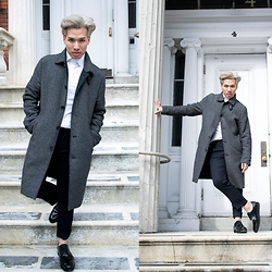 Dathias Hoang - H&M Overcoat, Topman White Shirt, Topman Black Pants, Tiger Of Sweden Shoes - Basic @ www.modernmanjournal.com