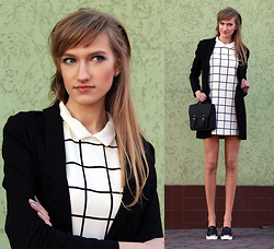 Flexy Fashion - Zara Dress, Mohito Blazer, Bershka Bag, Stradivarius Shoes - PLAID DRESS