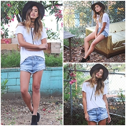 Jill Wallace - Volcom Denim Shorts, Volcom Grey Hat - VOLCOM WOMENS x LITTLE BLACK BOOTS