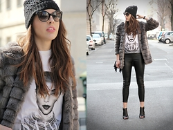 Anita Sookan - New Yorker Grey Faux Fur Coat, Forever 21 Sade Print Shirt, Prada Shades, H&M Studded Beanie, Forever 21 Fringe Bucket Bag, H&M Leather Leggings, Aldo Chunky Heel Booties - Grey Day with Sade, ey