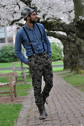Hector Diaz - Club Monaco Chambray Shirt, H&M Camo Joggers, American Apparel Suspenders, Urban Outfitters Fedora Hat (Similar), Aldo Boots - Cherry Blossoms