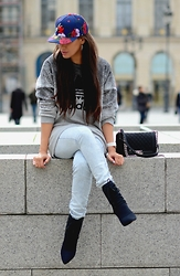 Tamara Chloe - Chanel Bag, Alexander Wang Booties, Zara Jeans, Adidas Sweater Dress, Adidas Cap - Streets Of Paris With Adidas