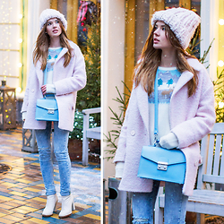 Tatiana Vasilieva - Asos Beanie, Asos Christmas Jumper, Asos Satchel Bag, H&M Ripped Jeans, Pimkie Pink Coat - Let It Snow