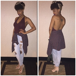 Tkeyah Grier - American Apparel Bodysuit, Charlotte Russe Booties, Charlotte Russe Jeans, Forever 21 Necklace, Thrift Flannel - Back out