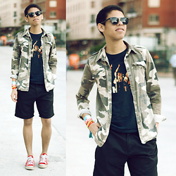 Andrés Barreto - Zerouv Sunglasses, Primark T Shirt, Pull & Bear Shirt, Asos Shorts, Converse Sneakers - #ThrowbackThursday