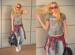Milena Olimpia Dziewulska - Bershka Jeans, H&M T Shirt, Topman Shirt, Vintage Backpack, New Yorker Sneakers - Thrift shop