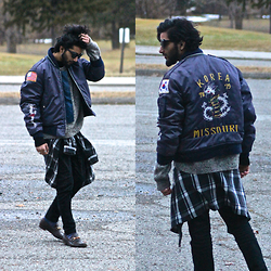 Tah ∆li - Tom Ford Vintage Black Cat Eye Shades, Lost & Found Vintage Bomber, Christian Dior Vintage Sweater, Fred Perry Vintage Black Mid Turtle Neck Sweater, Express Vintage Plaid Zip Up Flannel, I Love Ugly Black Ralph Pants, Calvin Klein Blue Speckled Socks, Gucci Burgundy Loafers - Cruella DeVillun