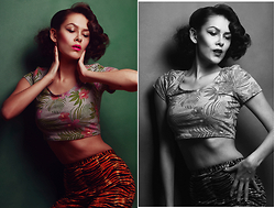 Courtney Reader - H&M Tropical Crop Top, Deadly Dames Tiger Cigarette Pants - Aloha from Hell!