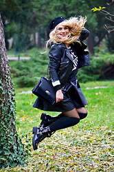 Roxana Gheorghe - Topshop Leather Skirt, Bershka Genuine Leather Jacket, Morgan Top, Rena Brasov Leather Bag - I can jump higher