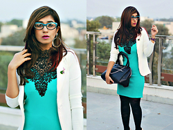 Surbhi Suri - Pretty Secrets Mint Dress, Asos White Blazer, Kenneth Cole Bag, Label Tff Eyewear - Mint N Lace