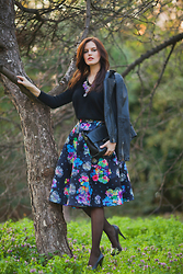 Viktoriya Sener - Beads.Us Necklace, Mango Leather Jacket, Sheinside Sweater, Allbuy Skirt, Zara Bag, Asos Heels - IN THE FOREST