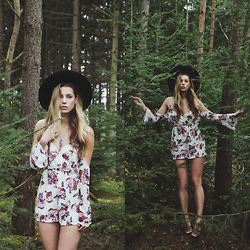 Jamie L ♡ - Missguided Playsuit, Invito Heels, All Saints Hat - I NEVER LOOK BACK, DARLING. IT DISTRACTS ME FROM NOW