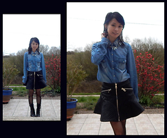 Nowaki Selenocosmia - Sheinside Faux Leather Skirt, H&M Denim Shirt, Sheinside Necklace, Bodyline Tights, Black Boots - Leather and denim