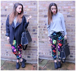 Jessica Sheppard - Elizabeth Arden Lipstick, Monki Textured Biker Jacket, Asos Polo Shirt, Armani Exchange Floral Trousers, H&M City Bag, Ebay Chunky Heels - CROPPED TROUSERS.