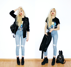 Kicki Yang Zhang - Forever 21 Fake Leather Jacket, Monki Jeans, Asos Plateau Boots, Vintage Backpack - Bunny meets Wolf