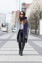 Sylwia K. - Sheinside Grey Coat, Top Secret Leather Pants, Reserved Grey Top - Never say never