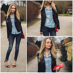 Meryl M - G Star Raw Blue Jeans, Nelly Strap Heels, Bik Bok Denim Shirt, Zara Leather Jacket, Hermës Red Wallet - DOUBLE DENIM