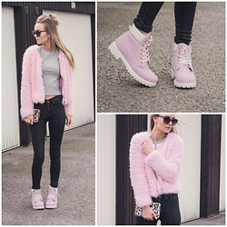 Meryl M - Gina Tricot Pink Fur Jacket, Bik Bok Crop Top, Dr. Denim High Waist Jeans, Nelly Pink Boots, H&M Sunglasses - Pink Fluff