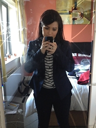 Clodagh Louise Hyland - Primark Blazer, Zara Navy Strip, Primark Navy Peg Legs - Suit up.