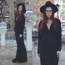Ashley Laderer - Lack Of Color Wide Brim Fedora, Unif Dame Choker, Ami Clubwear Long Sleeve Maxi Dress, Ami Clubwear Boots - WICKED WITCH OF MADISON SQ PARK
