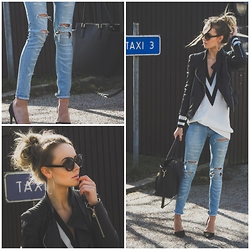 Meryl M - Bershka Ripped Jeans, Nelly Black Stilettos, H&M Black Handbag, Lindex Sunglassed, Nelly Sporty Sweater, Zara Leather Jacket - Ripped Jeans