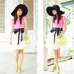 Wenny Yolanda - Her Spot Big Round Hat, Its Molli Leaves Necklace, Purse Lovin Shop Sabrina Top, I Love Pink Tutu Skirt, Grinitty Neon Heels, Michael Kors Purse - A Little Color Block