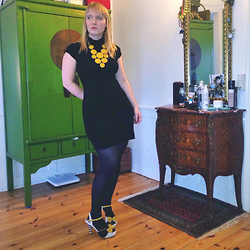 Gitte Tofte - Mata Traders Strewn With Sunlight Necklace, Mango Black Turtleneck, Lola Ramona One Of A Kind - Yellow Details