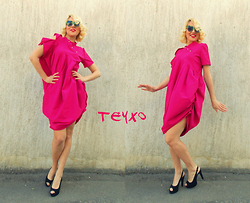 Lara Popa - Teyxo Summer Dress, Teyxo Fuchsia Cotton Dress - Drops of Summer