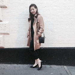 Anna S. - Zara Trench Coat, Asos Trousers, Mango Sling, Salvatore Ferragamo Heeled Pumps - Days left wandering