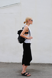 Blair B - American Apparel Knit Tank, Birkenstocks Sandals - WHITE KNIT