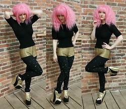 Suzi West - Ebay Cosplay Wig, Thrift Store 90s Scrunchy Texture Top, American Apparel Disco Shorts, Xhilaration Moons & Stars Tights, Jeffrey Campbell Succession Bootie - 27 March 2015