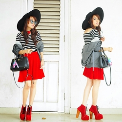 Wenny Yolanda - Her Spot Big Round Hat, Graciaz Sunnies, Graciaz Choker, I Love Pink Stripes Top, Peachopshop Grey Jacket, Prada Safiano, Deshopaholic Velvet Skirt, June And Julia Red Booties - Go-Chic!