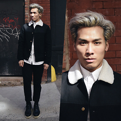 Dathias Hoang - Topman Sherling Jacket, Uniqlo Black Pants, Forever 21 Shoes, H&M White Shirt - Miminal @ www.modernmanjournal.com