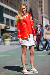 "Eef Vicca - Topshop Orange Raincoat, Primark Orange Sweater, Levi's® White Denim Skirt, Camper White ""Teen"" Sandals - ORANGE PUNCH"