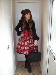 "Lorraine ""Luna"" K - Bodyline Red Floral Print Skirt, Foxcherry Black Mini Veil, Wonderbox Red Double Rose Pearl Chain Clip, Bodyline Black Lacy Bolero, Dorothy Perkins Black Lace Bow Clip, Red Maria Rose And Lace Ring, Bodyline Black Front Frill Skirt, Baby The Stars Shine Bright Black Double Ribbon Bag, Primark Black Solid Coloured Tights, Demonia Black Platform Mary Janes - Subdued Floral"