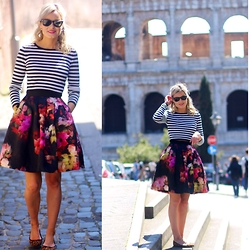 Martina Reynolds - H&M Stripe Crop Top, Ted Baker Floral Skirt - When in Rome