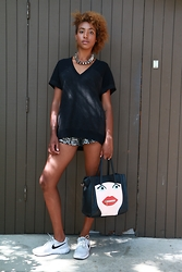 Michelle G. - H&M Necklace, All Saints Top, Zara Sequin Shorts, Aldo Purse, Nike Sneakers - SD Zoo