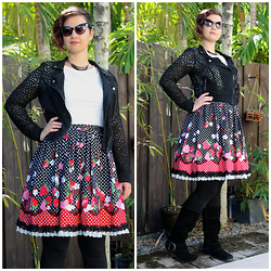 Badia Cupcake - Hot Topic Lace Moto Jacket, Bodyline Chocoberry Skirt - Strawberry sunlight