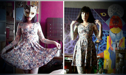 Serena Toxicat - Cat Mask, Black Milk Clothing Crazy Cat Lady Skater Dress - CRAZY CAT LADY
