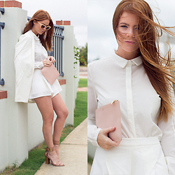 Kiara King - Bluejuice Coat, Asos Sunglasses, Bluejuice Blouse, Tigermist Shorts, The Daily Edited Clutch, Wanted Shoes Heels - The Wind, My Hair and an All White Outfit