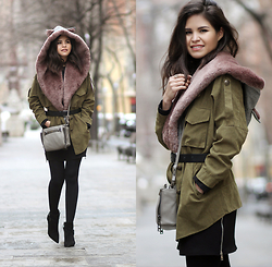 Adriana Gastélum - Chouchou Couture Preorder It Here Hollywood Kitty Hood, Sheinside Green Parka, Botkier Leroy Crossbody, Guess? Booties - Unusual Spring