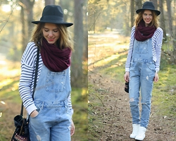 The Fashion Moodboard - Zara Dungaree, Primark Breton Shirt, H&M White Sneakers, Primark Fedora Hat - Dungarees